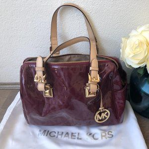 Michael Kors Red Maroon & Nude Leather Trim Signature Print Tote Hand Bag AS NEW